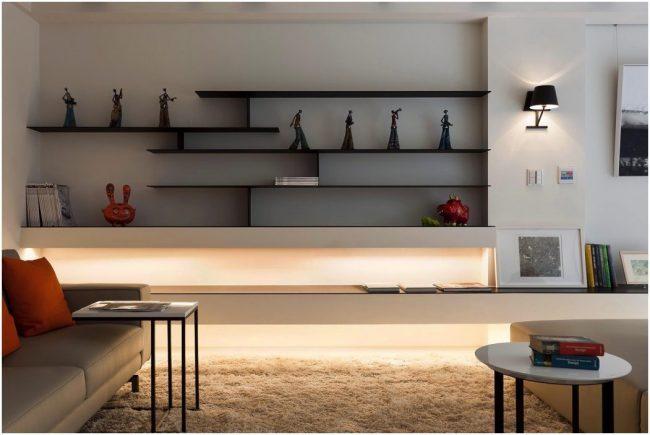 Настенные полки: обзор функциональных моделей в стиле минимализм, лофт, модерн и хай-тек