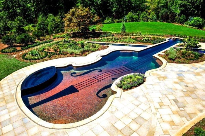 Ландшафтный дизайн участка с бассейном