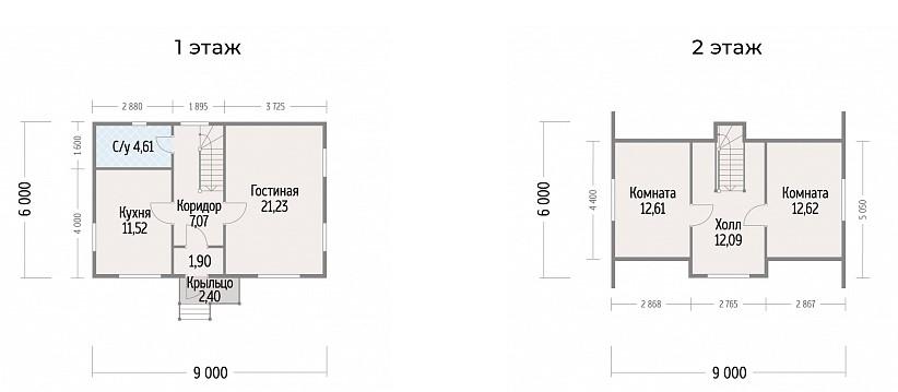 Планировка небольшого 2х этажного дома