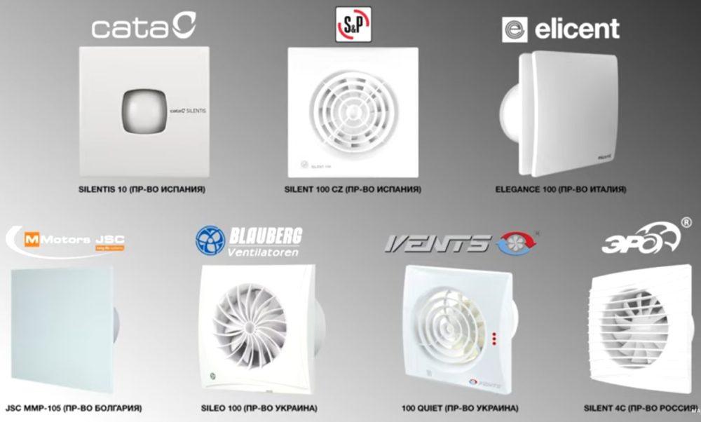 Модели вентиляторов